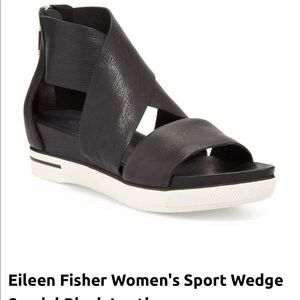 Eileen Fisher 9 Sport Wedge Sandal Brown Leather